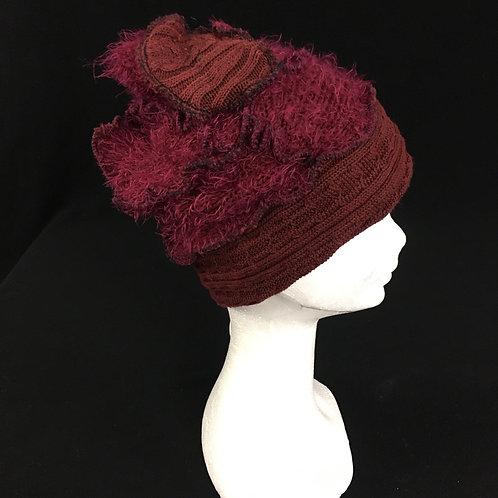 Burgundy fuzzy beanie winter hat