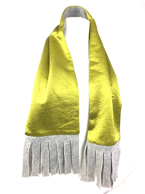Chartreuse reversible scarf with grey fleece