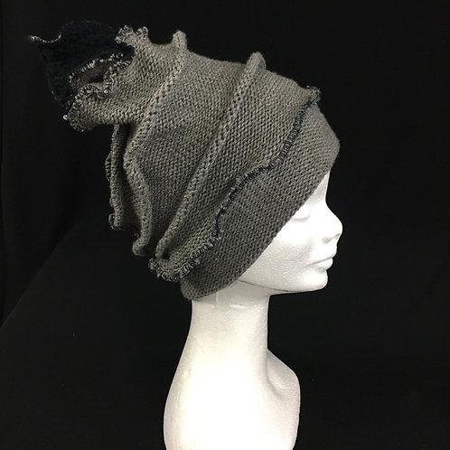 Grey funky knit hat