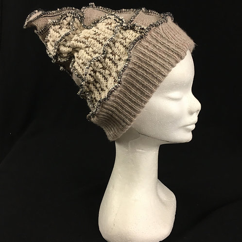 Taupe knit hat with lining