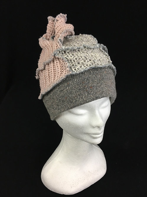 Handmade grey and salmon funky beanie hat