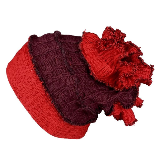One of a kind funky red and burgundy hat