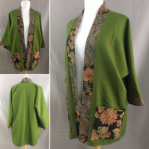 Vibrant green kimono with black tapestry accents