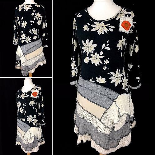 Black floral patchwork upcycled dress