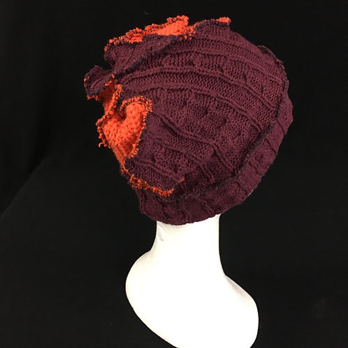 Burgundy and red knit beanie hat