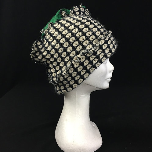 Black white and green hat
