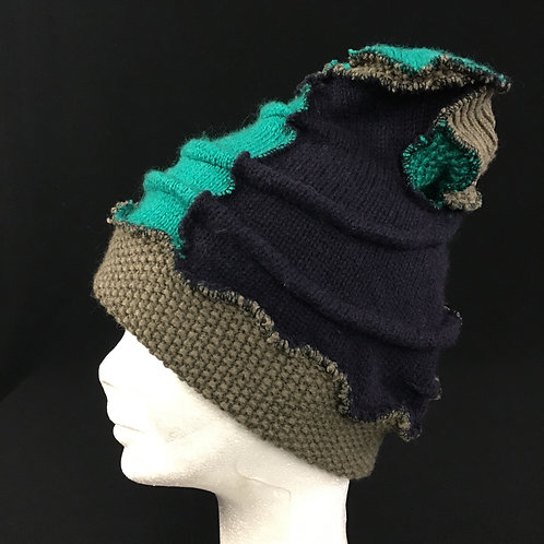 Funky greens and navy winter hat