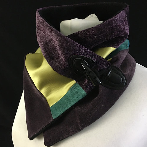 Stunning purple velvet neck warmer with green accents