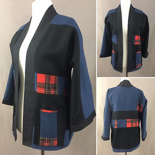 Blue black and tartan kimomo jacket
