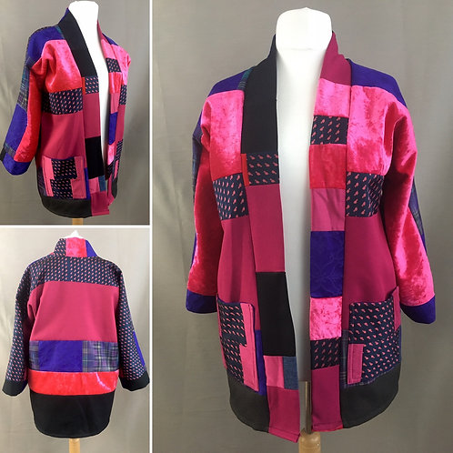 Pink and purple patchwork kimono