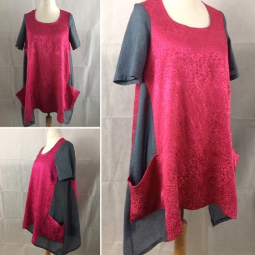 Blue and pink slouchy dress with pockets