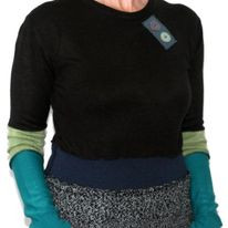 Black green and blue upcycled sweater