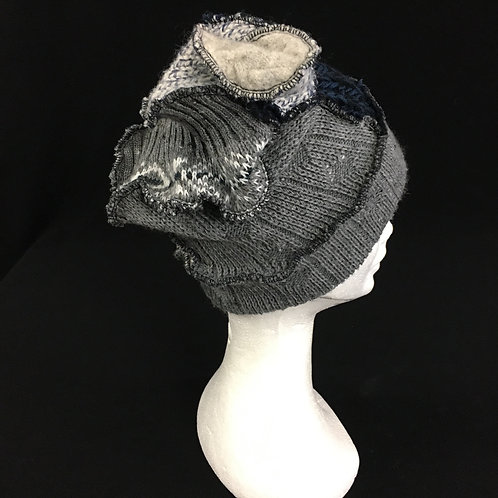 Navy and grey funky winter hat