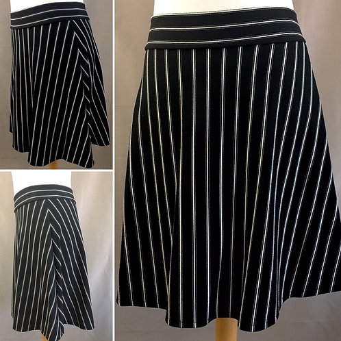 Black and white striped a line skirt