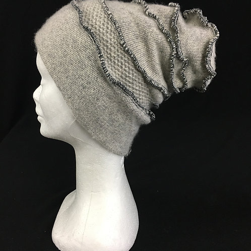 Soft grey cashmere beanie hat