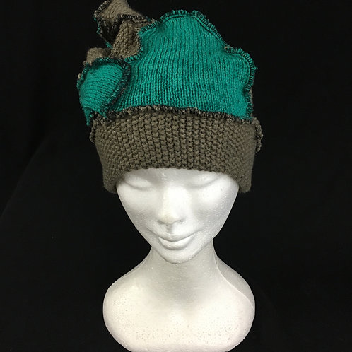 Two tone green uniquely upcycled hat