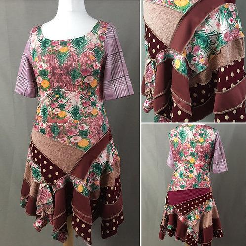 Pink floral asymmetrical dress