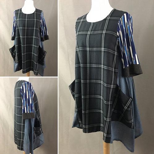 Grey plaid tunic dress with slouchy pockets