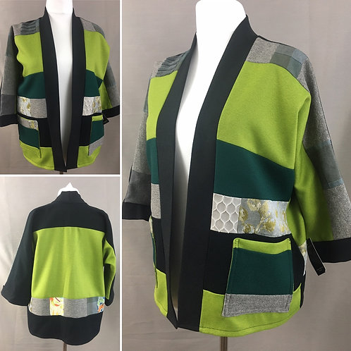 Vibrant green patchwork kimono jacket
