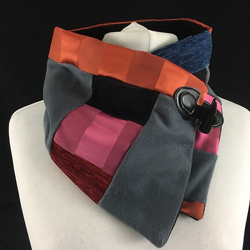 Grey pink and red patchwork neck warmer