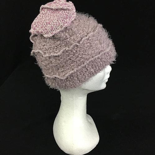 Fuzzy lavender beanie hat