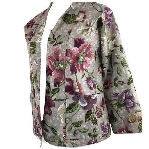 Gorgeous handmade floral kimono style jacket with pockets
