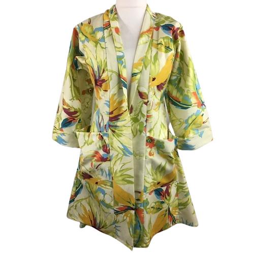 Vibrant green floral kimono style jacket