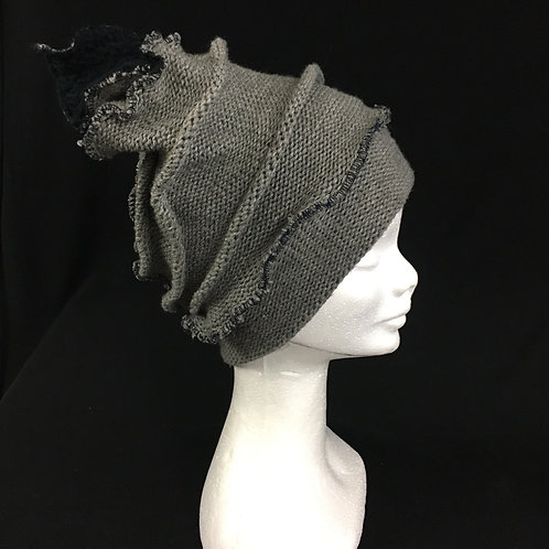 Cozy grey upcycled hat with lining