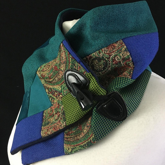 Patchwork blue green and tapestry neck warmer