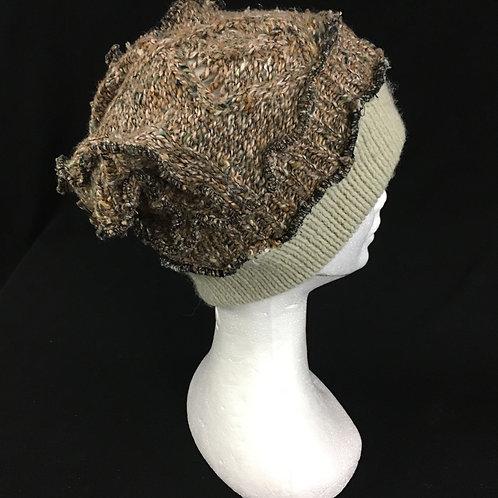 Brown and tan tan cozy winter hat