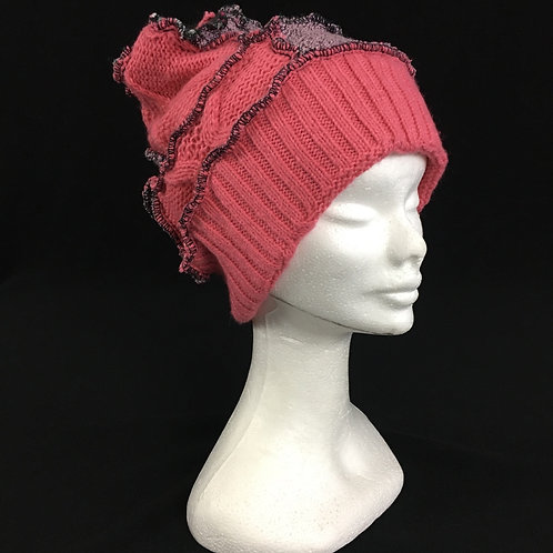 Pink and lavender upcycled hat