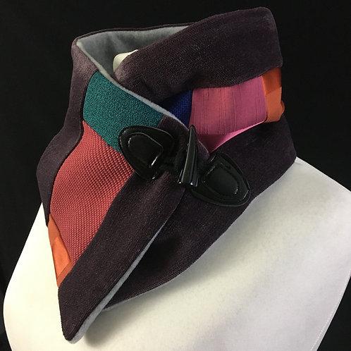 Stylish velvet patchwork neck warmer