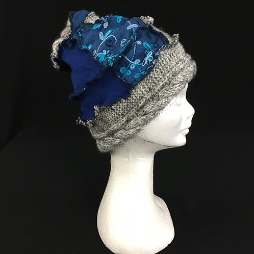 Blue and grey funky hat