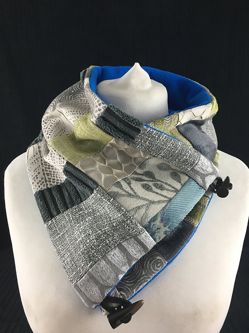 Silver, blue and green patchwork neckwarmer