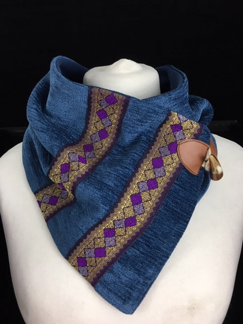 Blue neck warmer with purple trim