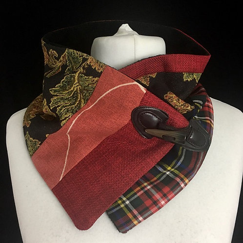 Red, orange and tapestry neck warmer