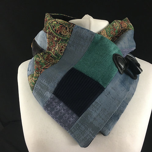 Teal light blue and tapestry neck warmer