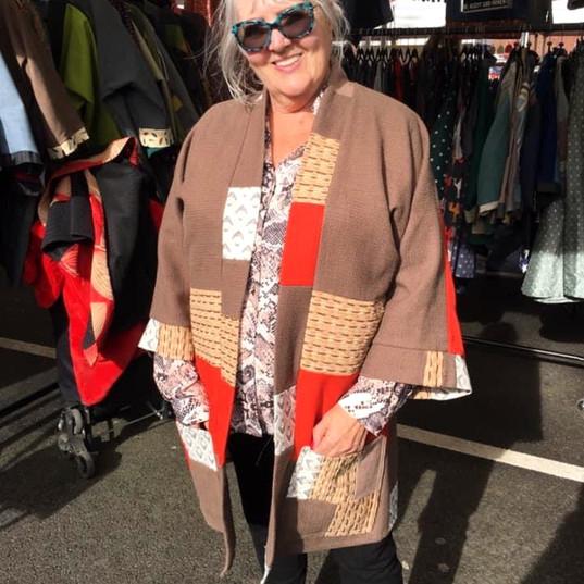 Anne brown and orange patchwork kimono