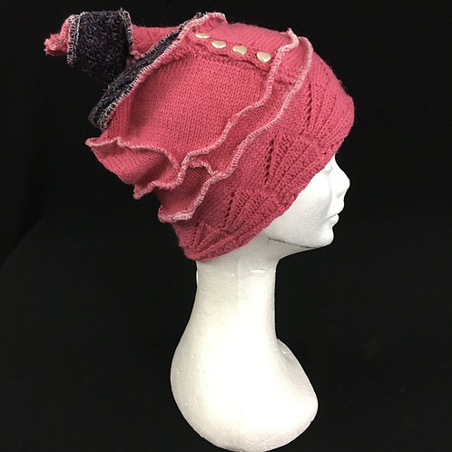 Pink eco friendly hat with heart shaped buttons