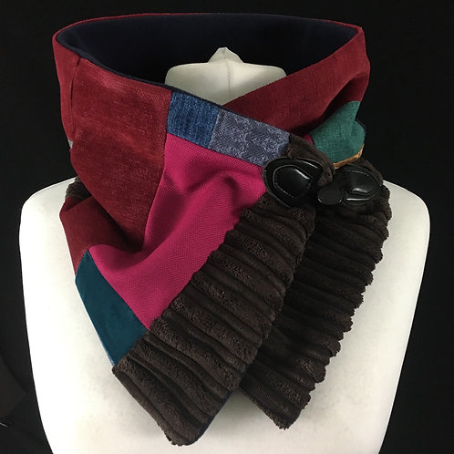 Chocolate brown with red and pink neck warmer