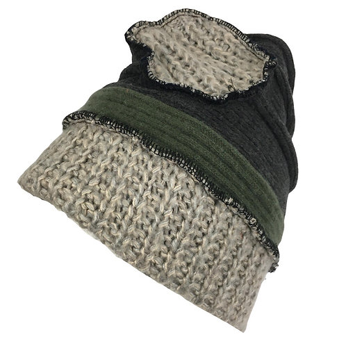 Cozy up cycled Grey and green soft fleece hat