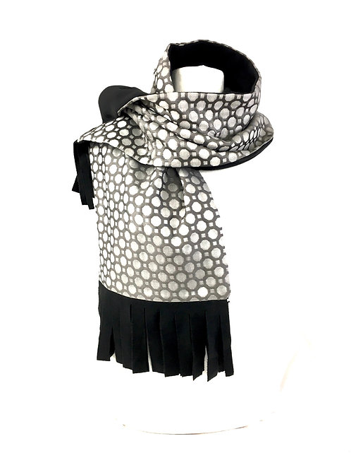 Silver and black reversible scarf
