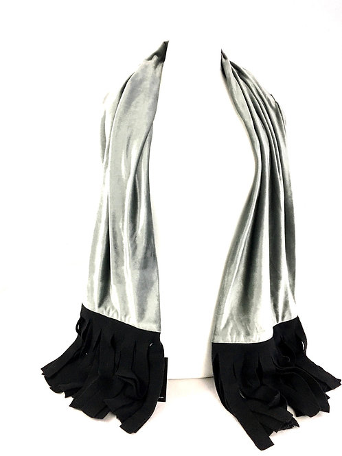 Wide and elegant silver velvet scarf