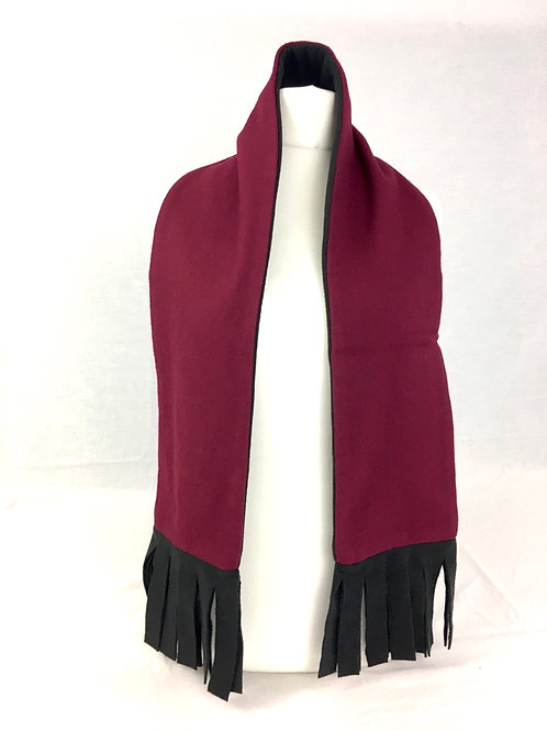 Raspberry red and black  reversible scarf with fleece lining.   Machine washable