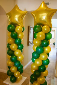 Traditional columns with gold star toppers