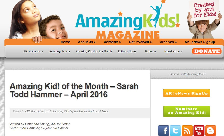 Sarah Todd in Amazing Kid of the Month