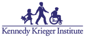 The Kennedy Krieger Institute logo, which is navy blue text below navy blue silhouettes of a little girl holding a teddy bear, holding hands with a taller man, who is behind a kid in a wheelchair. When you click this image, it brings you to the Kennedy Krieger website.