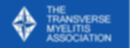 This image is the Transverse Myelitis Association logo, which is a white and blue diamond next to white text, on top of a blue background. If you click this image, it brings you to the Transverse Myelitis Association website.
