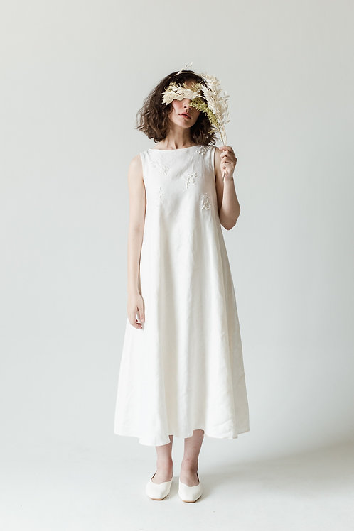 BOUQUET DRESS EMBROIDERY - OFF WHITE