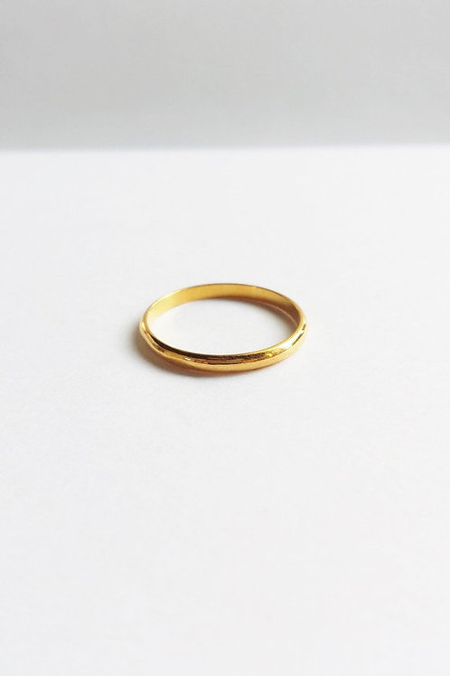 Minimalist Thin 14K Yellow Gold Stacking Band